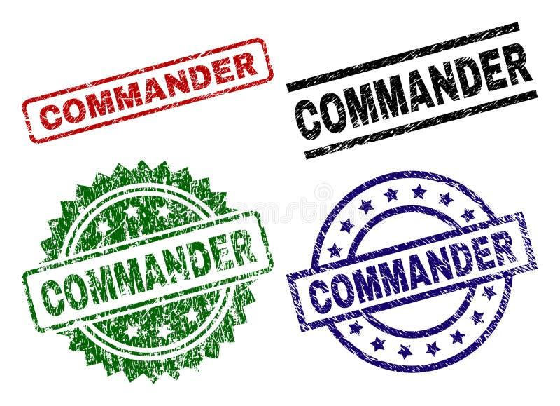 COMANDANTE Textured riscado Seal Stamps ilustração royalty free