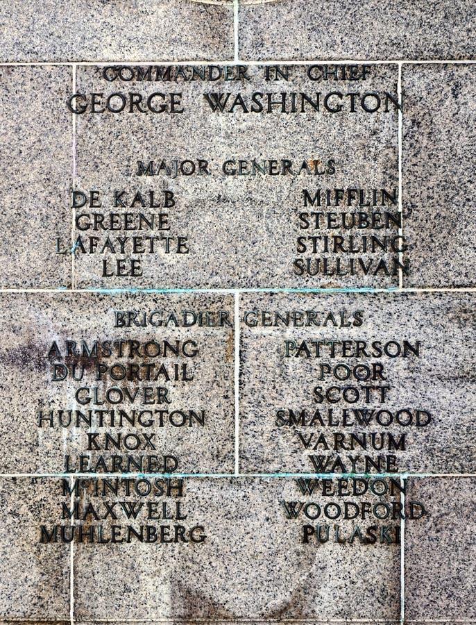 Comandante y generales de la guerra de revolucionario americano fotografía de archivo