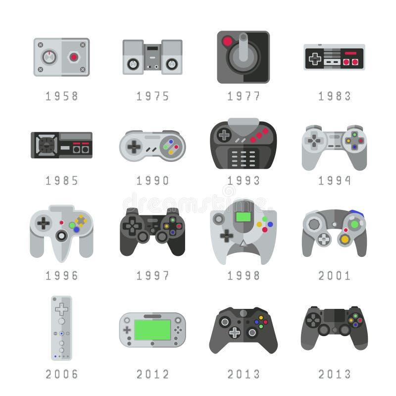 Comandi del video gioco, leva di comando, icone di vettore di gioco dei gamepads illustrazione vettoriale