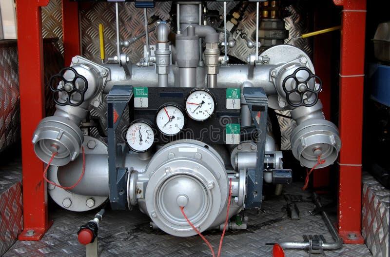 Comandi della pompa ad acqua del Firetruck immagine stock libera da diritti