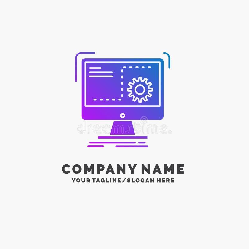 Comando, computer, funzione, processo, affare porpora Logo Template di progresso Posto per il Tagline illustrazione di stock