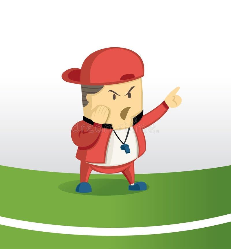 Comando da tomada do futebol do treinador ilustração do vetor