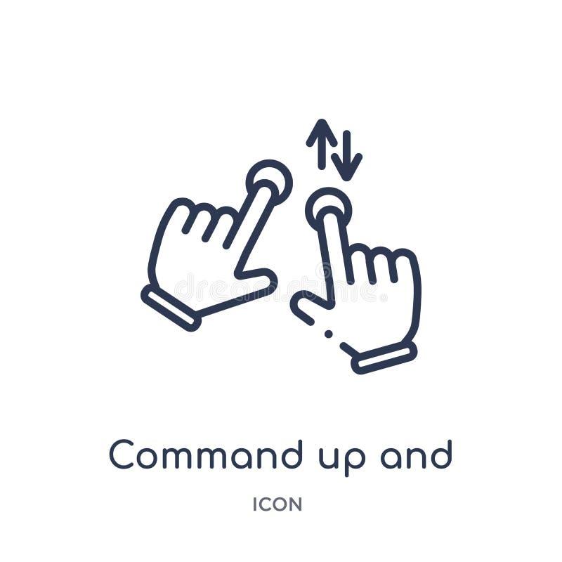 Comando linear arriba y abajo del icono del gesto de las manos y de la colección del esquema de los guestures Línea fina comando  ilustración del vector