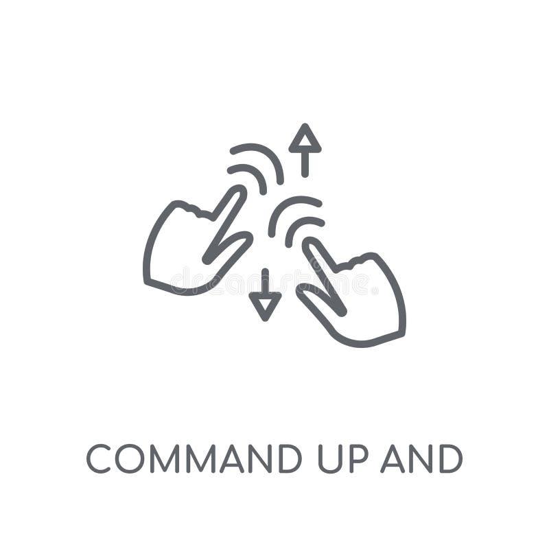 Comando su e giù l'icona lineare di gesto Comando moderno del profilo illustrazione di stock