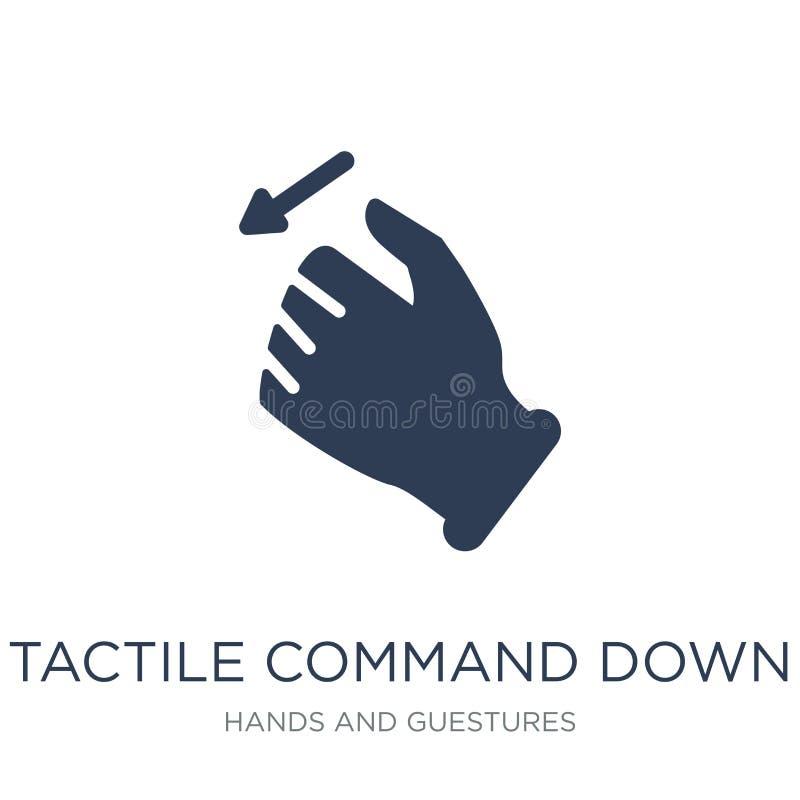 Comando táctil abajo del icono del gesto Vector plano de moda co táctil ilustración del vector