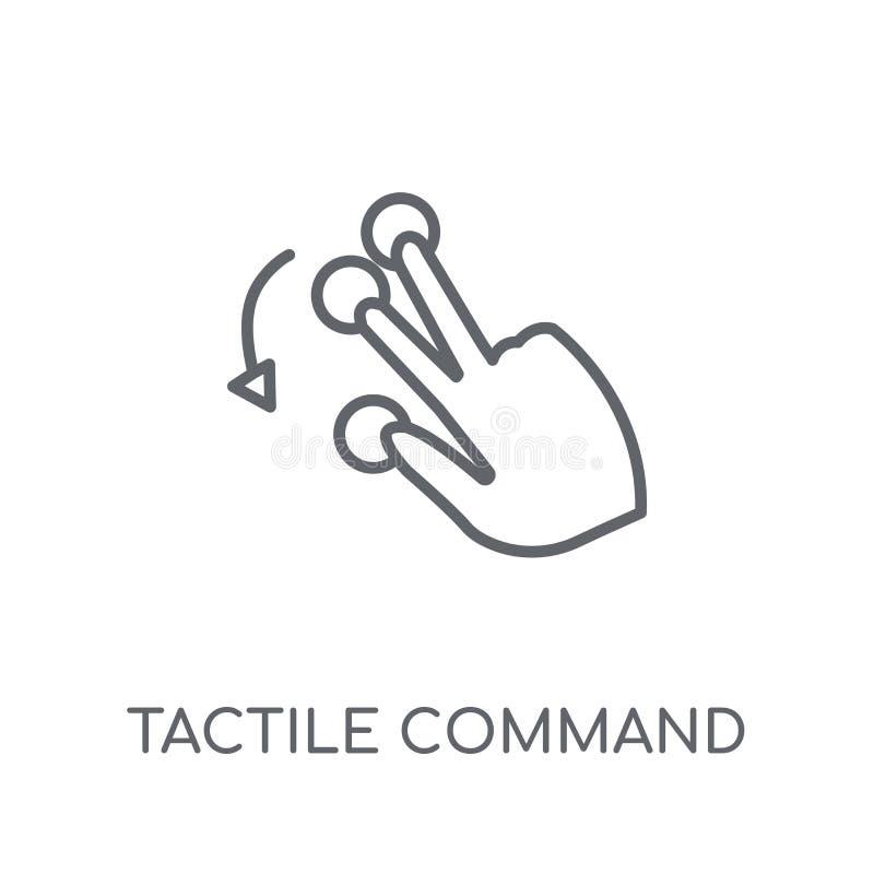 Comando táctil abajo del icono linear del gesto Esquema moderno táctil ilustración del vector