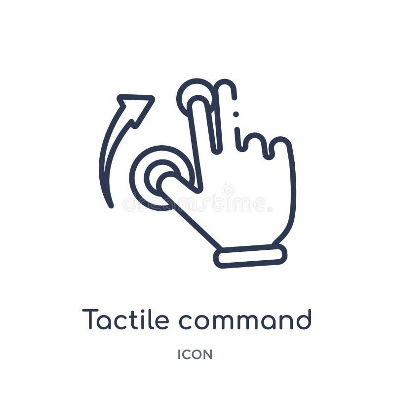 Comando táctil linear abajo del icono del gesto de las manos y de la colección del esquema de los guestures Línea fina comando tá libre illustration