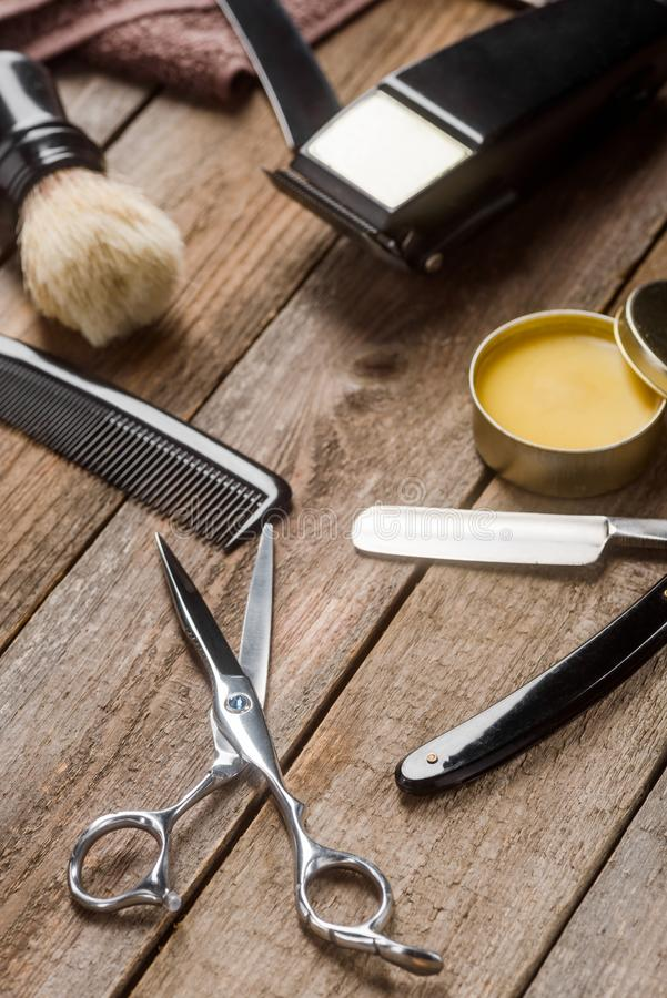 Comb, scissors and towel royalty free stock photography
