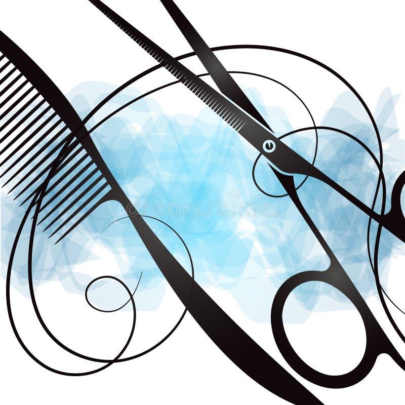 Comb and scissors unique design royalty free illustration