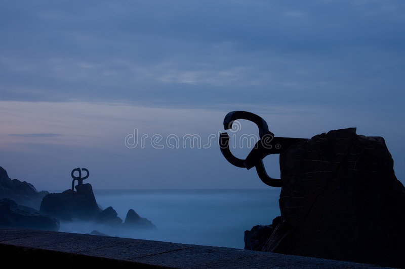 Comb of the Winds at night. Donostia (Spain royalty free stock images