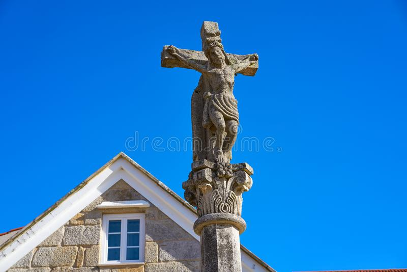 Combarro Cross village in Pontevedra Galicia Spain. Combarro cross Galician village in Pontevedra at Galicia Spain stock photography