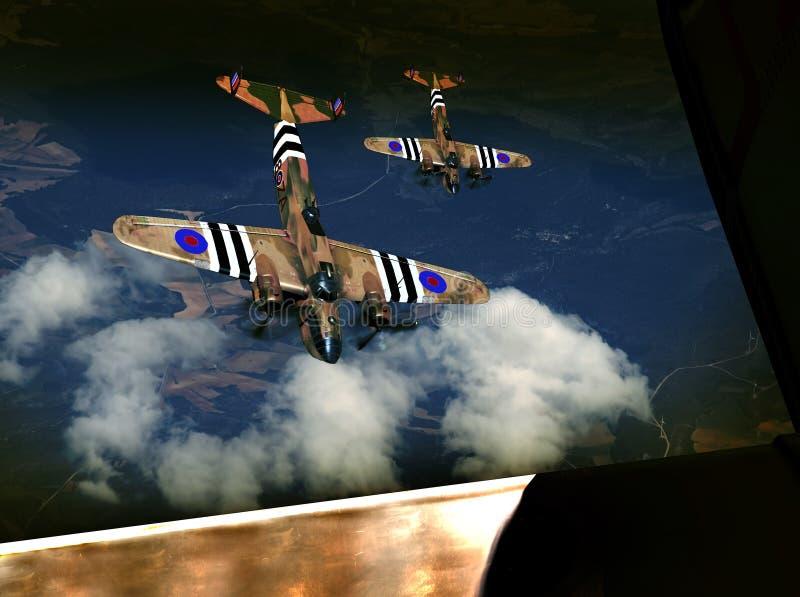 Combat aérien de la deuxième guerre mondiale illustration de vecteur