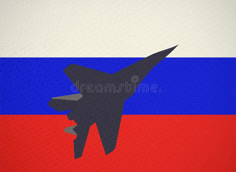 combat aircraft on background of the Russian flag stock illustration