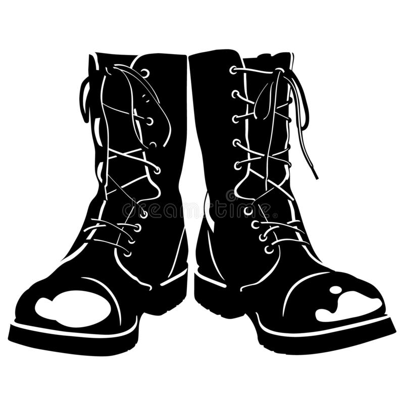 Combat boots Hand drawn Crafteroks svg free, free svg file, eps, dxf, vector, logo, silhouette, icon, instant download, digital do. Combat boots vector eps, Hand royalty free illustration