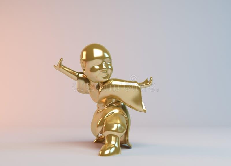 Combat d'or du garçon 3d illustration stock