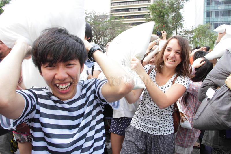 Combat d'oreiller international de Hong Kong 2013 images libres de droits
