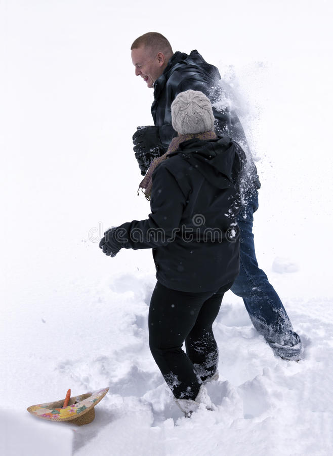 Combat De Bille De Neige Photos stock