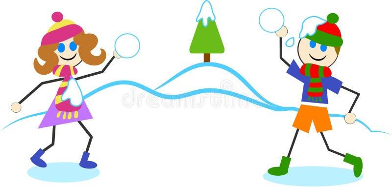 Combat de boule de neige illustration stock