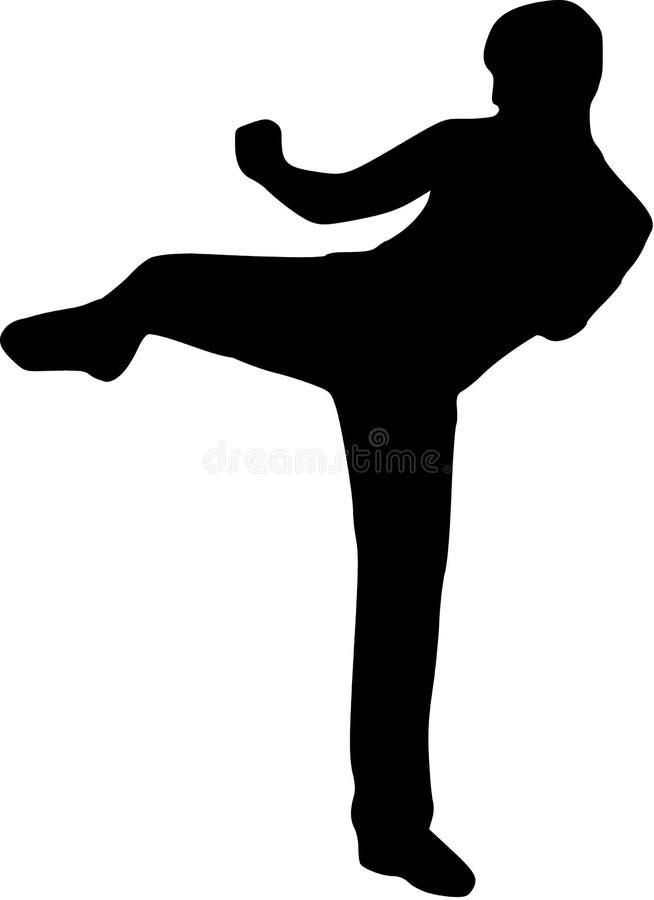 Combat de coup-de-pied de karaté illustration de vecteur