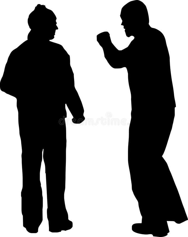Combat de couples illustration de vecteur
