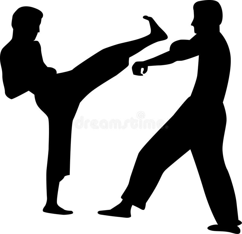 Combat de couples de karaté illustration de vecteur