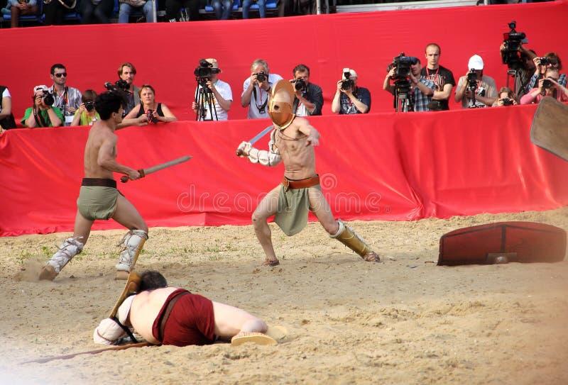 Combat de gladiateurs photo libre de droits