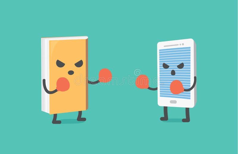 Combat de livre et de téléphone intelligent illustration stock