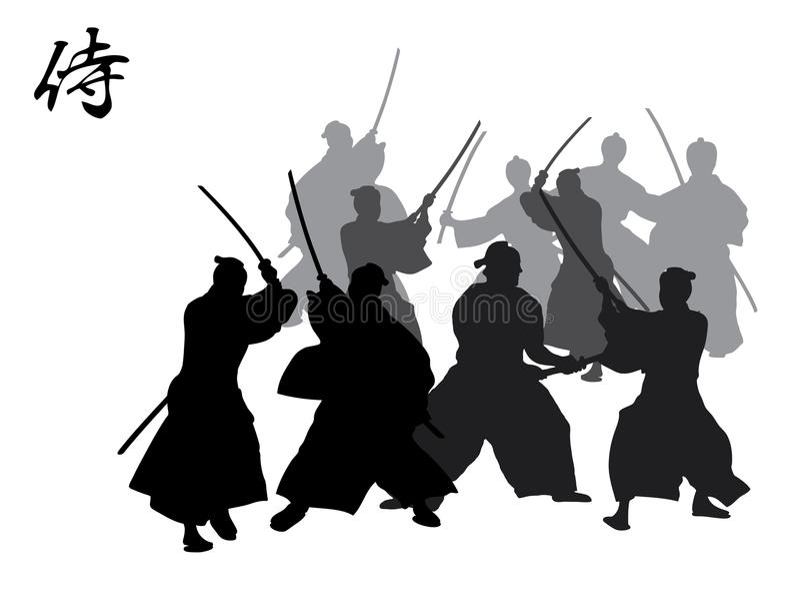 Combat de samouraï images libres de droits