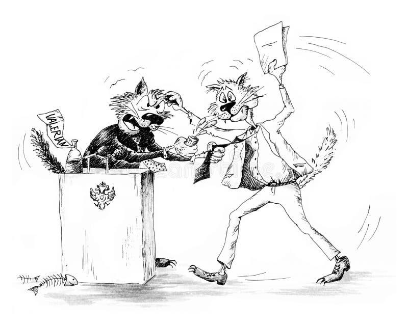 Combat des chats illustration de vecteur