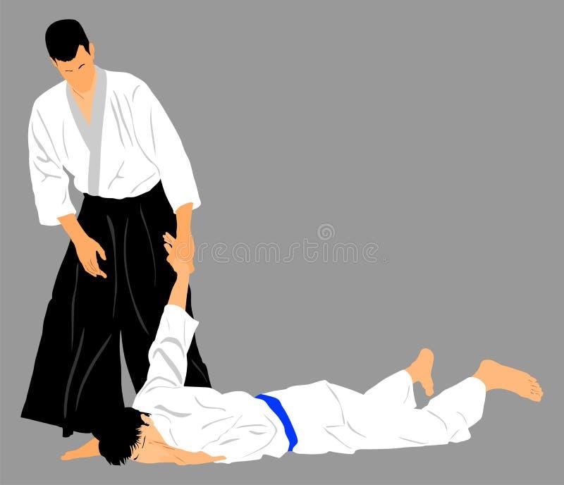 Combat entre deux combattants d'aikido illustration stock