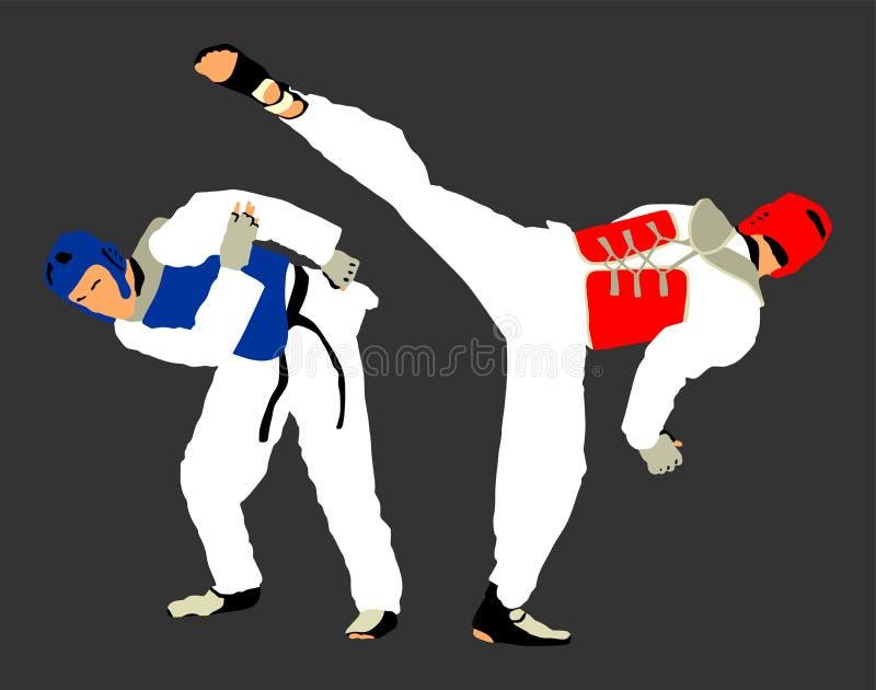 Combat entre deux combattants du Taekwondo Autodéfense, art de la défense exerçant le concept illustration de vecteur