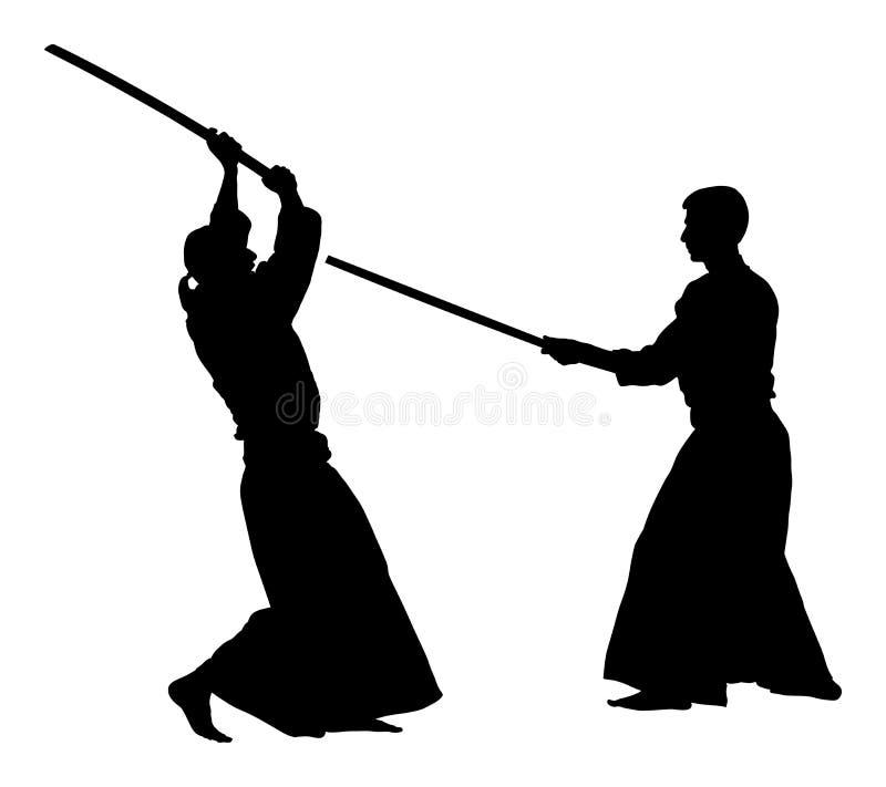 Combat entre la silhouette de deux combattants d'aikido illustration libre de droits