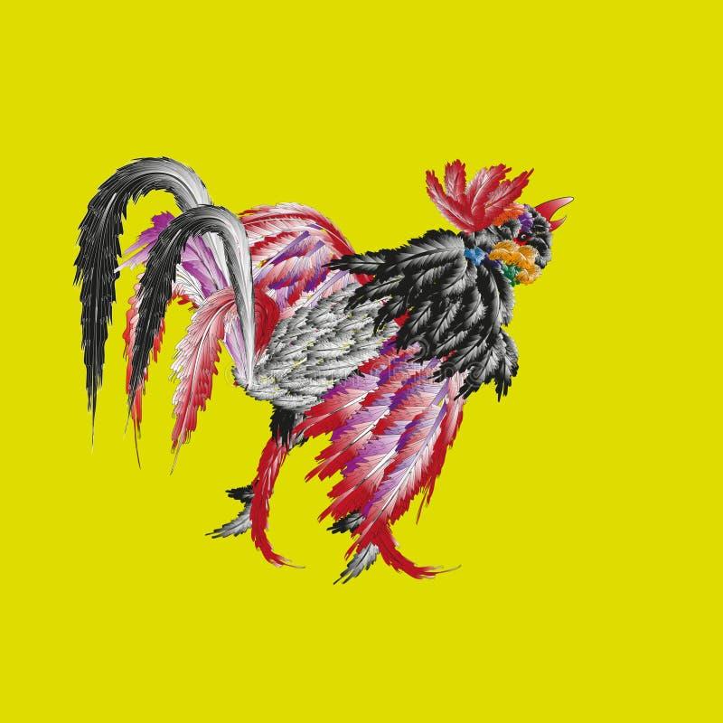 Combat lumineux de dessin de coq illustration libre de droits