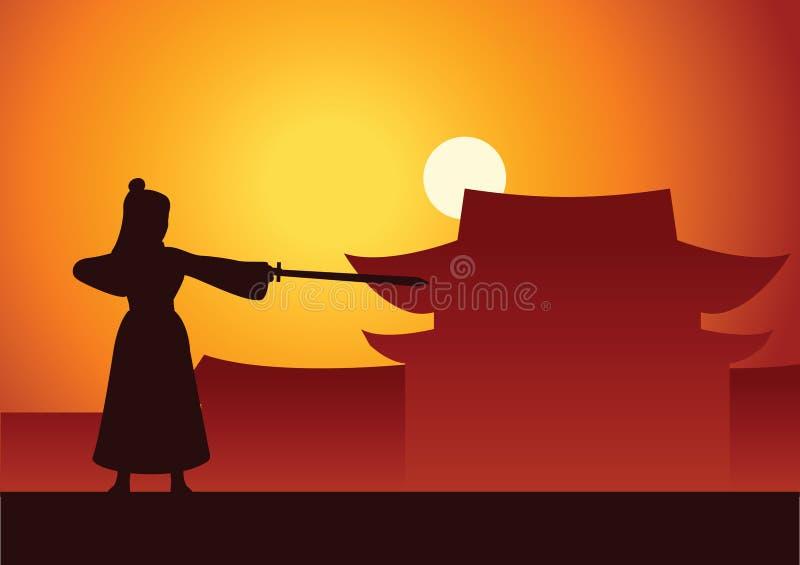 Combat martial chinois de train de héros avant du Chi antique illustration stock