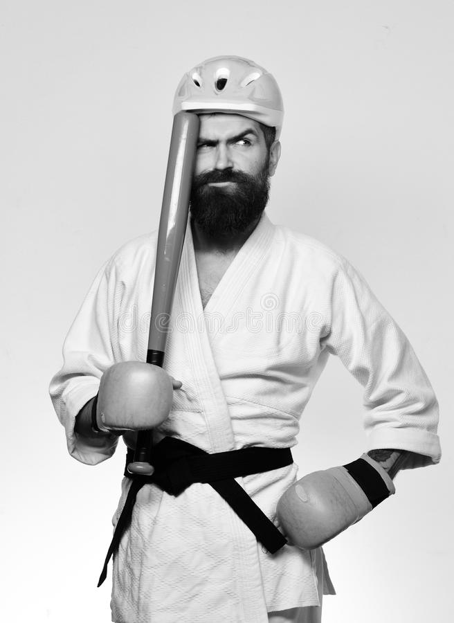 Combat master gets ready to fight. Martial arts concept. royalty free stock photography