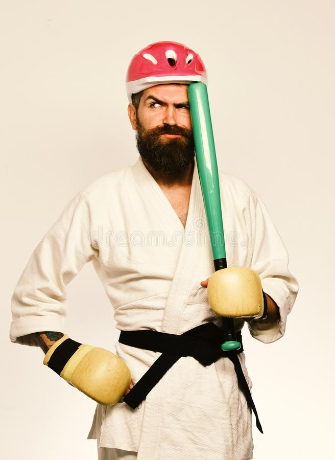 Combat master gets ready to fight. Martial arts concept. stock photo