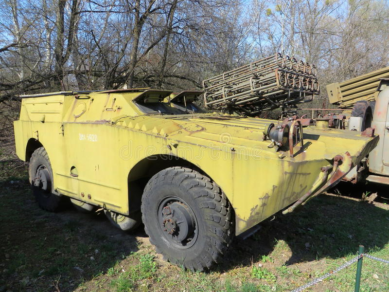 Combat reconnaissance patrol vehicle BRDM. With launcher for wire-guided anti-tank missiles 9M14 Malyutka. Picture date: 2017-04-01. Place: Poland, Warsaw stock image