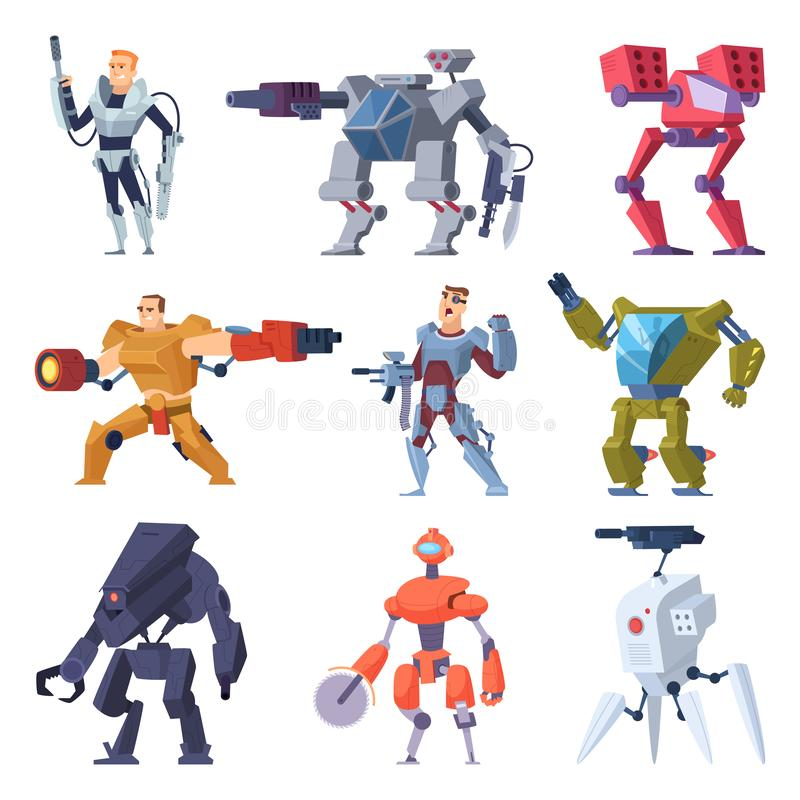 Combat robots. Armor transformers android protective electronic soldier future weapon vector characters royalty free illustration
