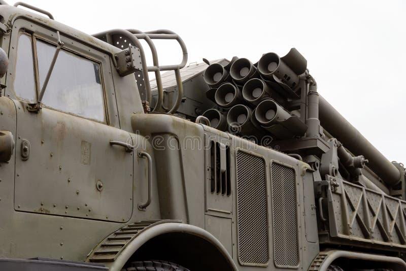 Combat vehicle 220 mm multiple launch rocket system. steampunk background. Combat vehicle 220 mm multiple launch rocket system. steampunk background stock image