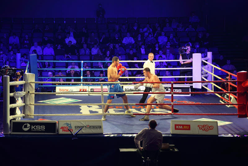 Combate de boxeo I.Ismailov contra F.Khrgovich foto de archivo libre de regalías