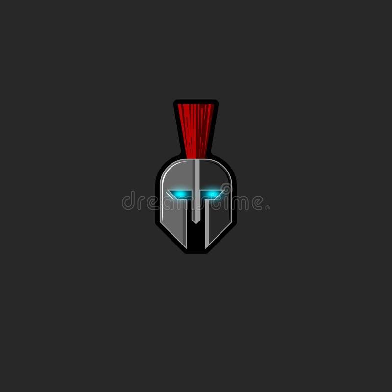 Combatiente antiguo del guerrero del casco del fantasma romano del logotipo con los ojos que brillan intensamente, emblema o esco libre illustration