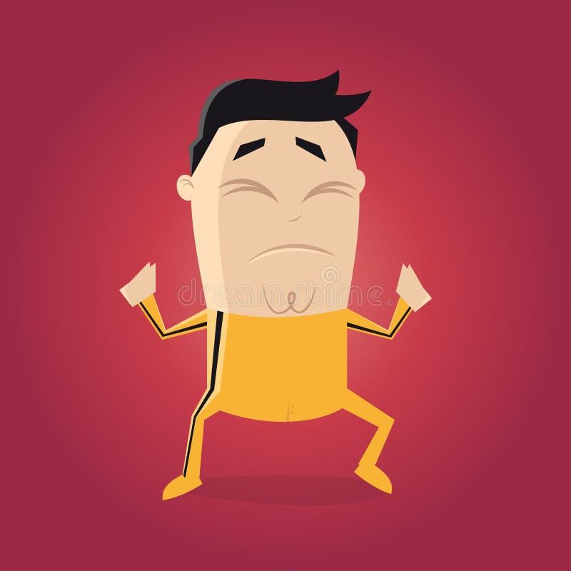Combatiente asiático con el clipart amarillo de la historieta del traje de pista libre illustration