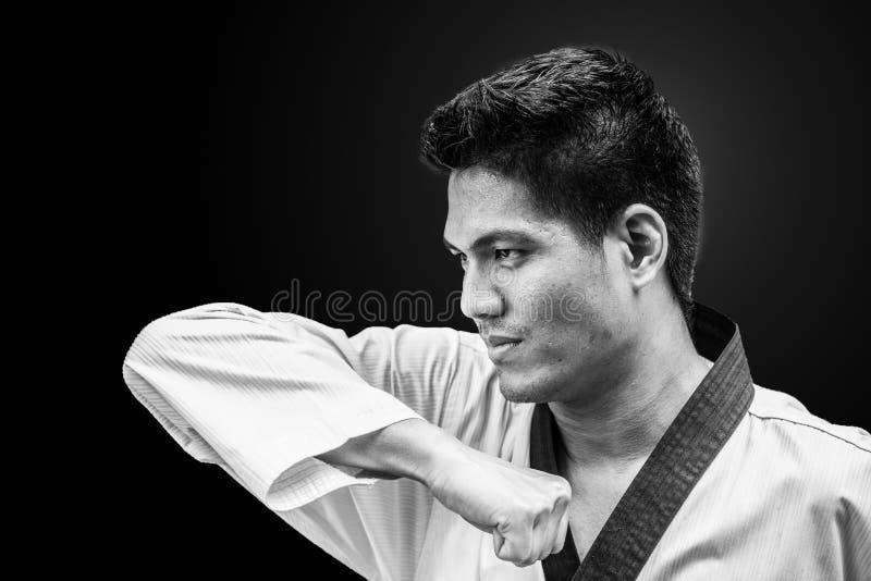 Combatiente coreano tradicional del Taekwondo de la huelga del codo imagen de archivo