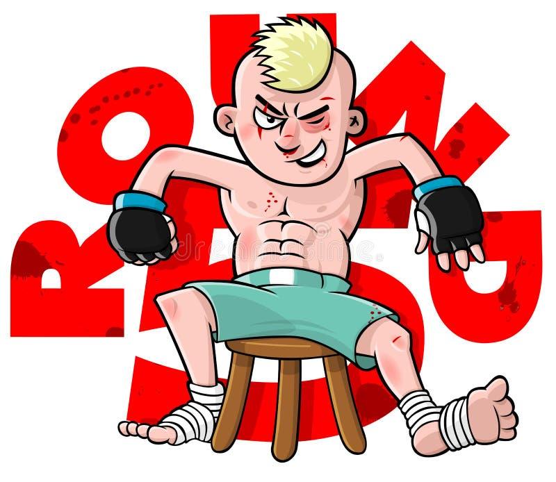 Combatiente de la historieta MMA ilustración del vector