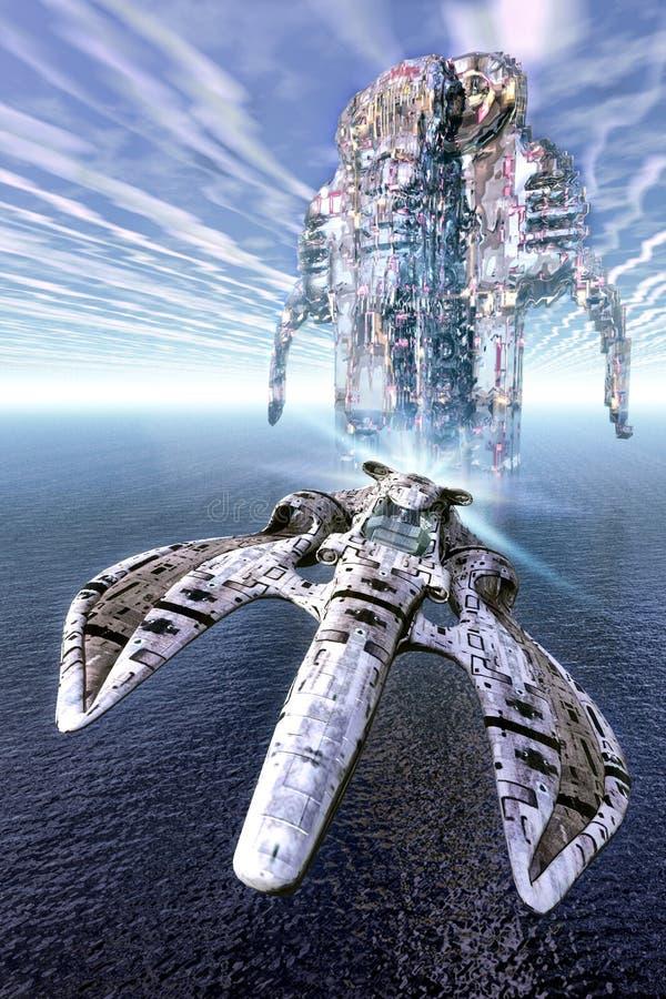 Combatiente de la nave espacial sobre el mar stock de ilustración