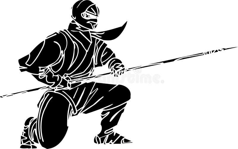Combatiente de Ninja - ilustración del vector. Vinilo-listo. stock de ilustración