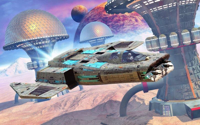 Combatiente del espacio y planeta del extranjero ilustración del vector