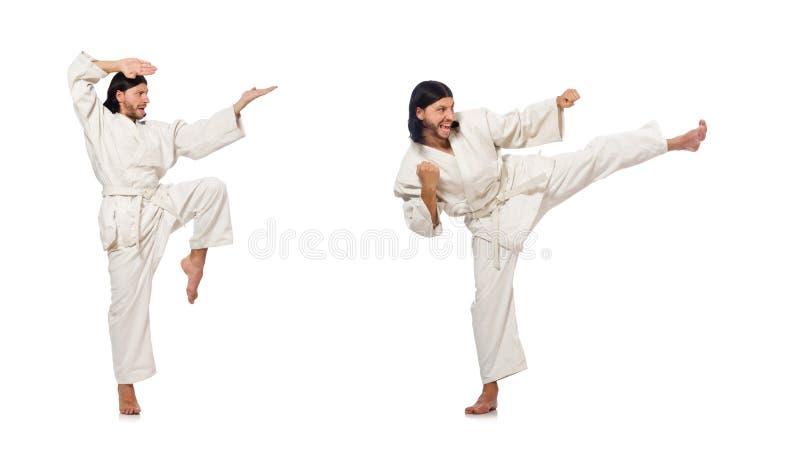 Combatiente del karate aislado en blanco imagen de archivo