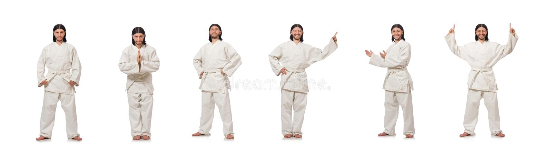 Combatiente del karate aislado en blanco fotografía de archivo