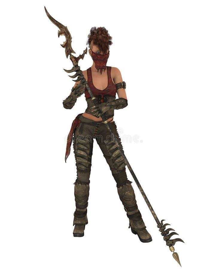 Combatiente femenino feroz, 3D CG stock de ilustración